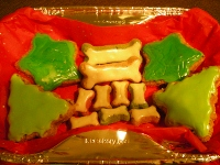 Christmas dog treats decorated with Fido's Royal Icing for Dogs