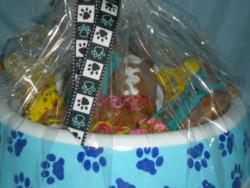 dog treat gift basket close-up