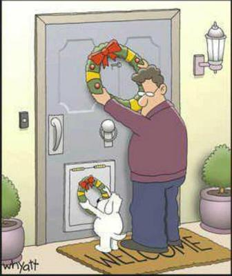 Dog putting Christmas wreath on his doggie door!