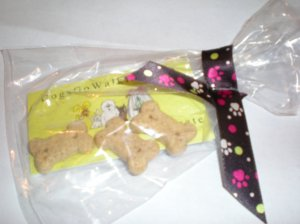 paw print ribbon packaging for dog treat aging dog treats